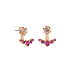 Crystal Flower Jacket Earrings - Pink Crystal/Rose Gold Plated