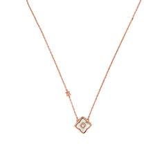 Small Resin Floret Necklace - Crystal/Rose Gold Plated