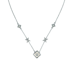 Resin Floret Station Necklace - Crystal/Rhodium Plated