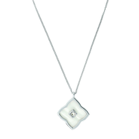 Resin Floret Pendant Necklace - Crystal/Rhodium Plated