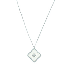 Resin Floret Long Pendant Necklace - Crystal/Rhodium Plated