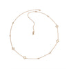 Resin Floret Long Rope Necklace - Crystal/Rose Gold Plated