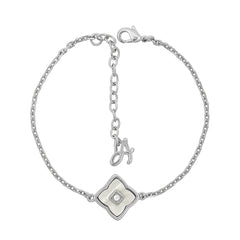 Resin Floret Line Bracelet - Crystal/Rhodium Plated
