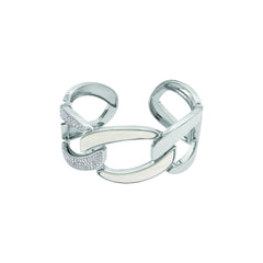 Resin Curb Link Cuff - Crystal/Rhodium Plated