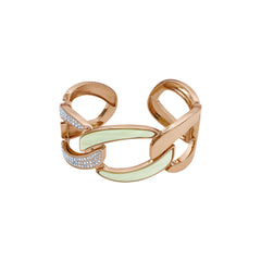 Resin Curb Link Cuff - Crystal/Rose Gold Plated