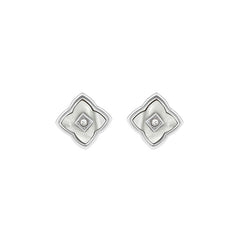 Resin Floret Post Earrings - Crystal/Rhodium Plated