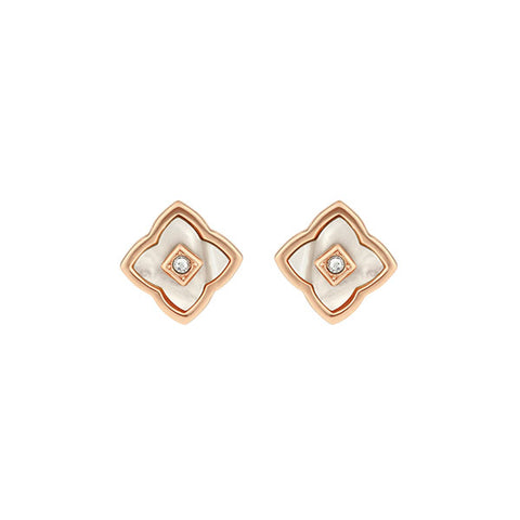 Resin Floret Post Earrings - Crystal/Rose Gold Plated