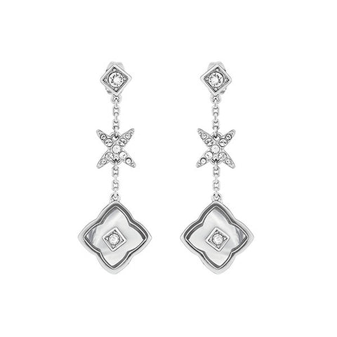 Resin Floret Linear Earrings - Crystal/Rhodium Plated