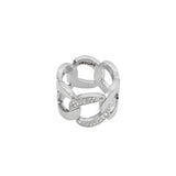 Pavé Curb Link Ring - Crystal/Rhodium Plated