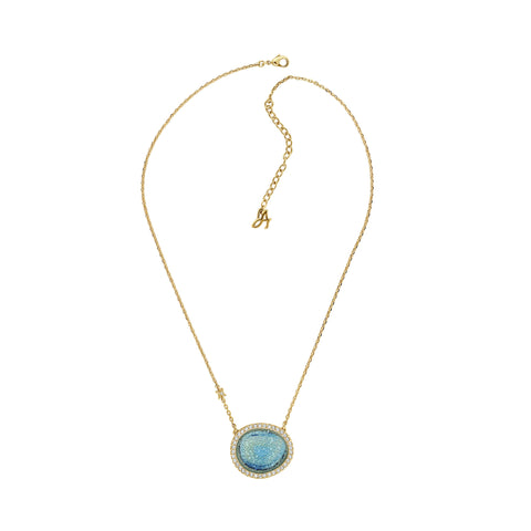 Graphic Crystal Stone Necklace - Blue Crystal/Gold Plated