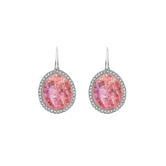 Graphic Crystal Stone French Wire Earrings - Blush Crystal/Rhodium Plated