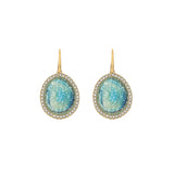 Graphic Crystal Stone French Wire Earrings - Blue Crystal/Gold Plated