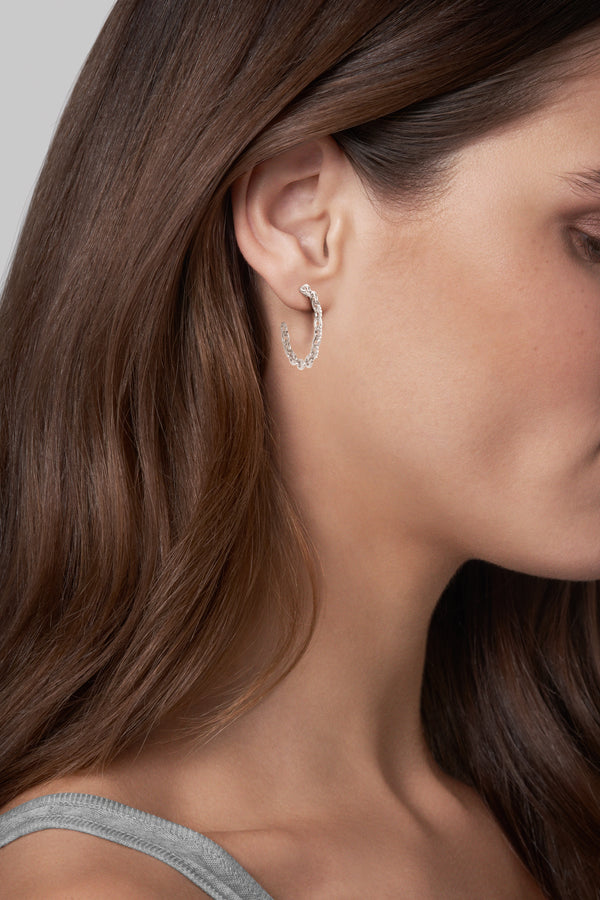 Fixed Cable Link Hoop Earrings - Crystal/Rhodium Plated