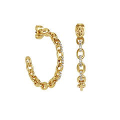 Fixed Cable Link Hoop Earring - Crystal/Gold Plated
