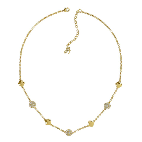 Pavé & Metal Station Necklace - Crystal/Gold Plated