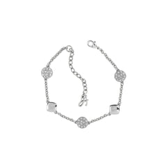 Pavé & Metal Station Bracelet - Crystal/Rhodium Plated