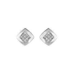 Pavé & Metal Stud Earring - Crystal/Rhodium Plated