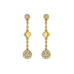 Pavé & Metal Post Earring - Crystal/Gold Plated