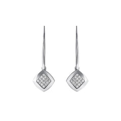 Pavé & Metal French Wire Earring - Crystal/Rhodium Plated