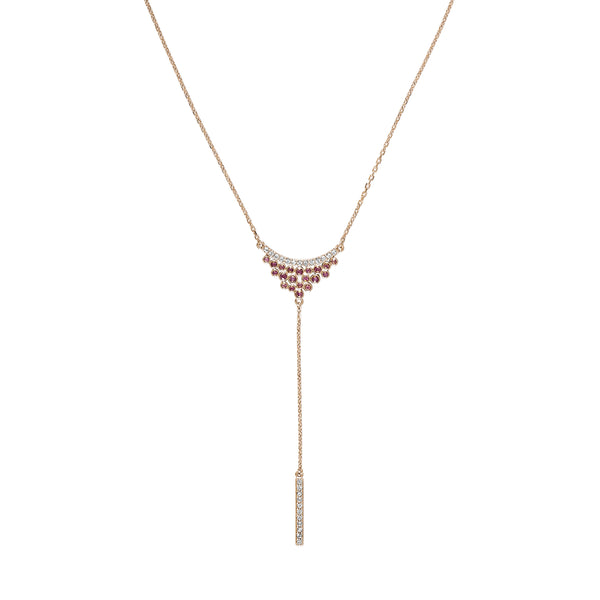 Pavé & Round Cluster Y Necklace - Mixed Crystal/Rose Gold Plated