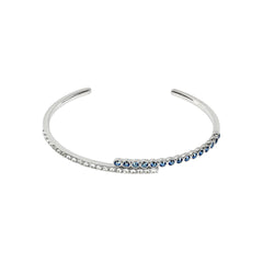 Pavé & Round Cuff Bracelet - Mixed Crystal/Rhodium Plated