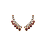 Pavé & Round Earring Crawler - Mixed Crystal/Rose Gold Plated