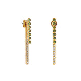 Pavé & Round Link Earring Jacket - Mixed Crystal/Gold Plated