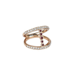 Pavé & Round Ring - Mixed Crystal/Rose Gold Plated