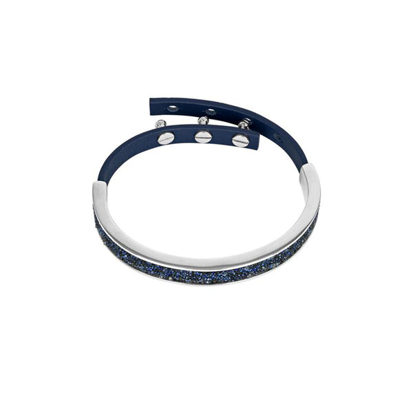 Crystal Fabric & Leather Cuff - Blue Crystal/Rhodium Plated