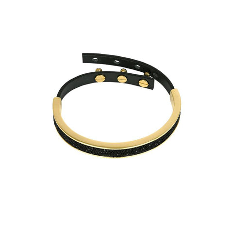 Crystal Fabric & Leather Cuff - Black Crystal/Gold Plated