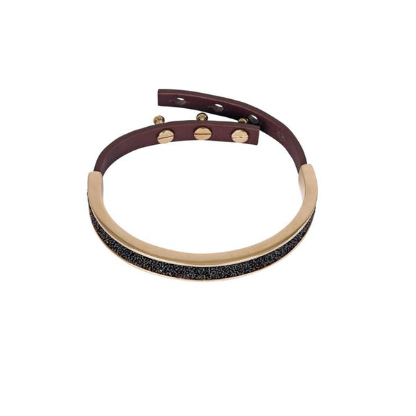Crystal Fabric & Leather Cuff - Burgundy Crystal/Rose Gold Plated