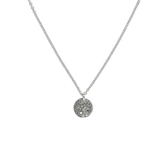 Small Metallic Pavé Disc Necklace - Crystal/Rhodium Plated