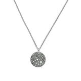 Large Metallic Pavé Disc Necklace - Crystal/Rhodium Plated