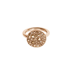 Metallic Pavé Disc Ring - Rose Gold Crystal/Rose Gold Plated