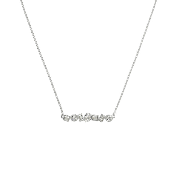 Mixed Crystal Bar Necklace - Crystal/Rhodium Plated