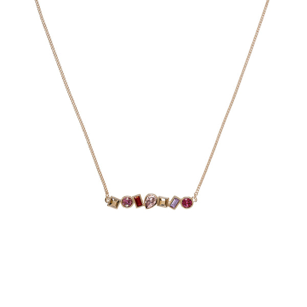 Mixed Crystal Bar Necklace - Pink Crystals/Rose Gold Plated