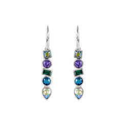 Mixed Crystal French Wire Earrings - Blue Crystal/Rhodium Plated