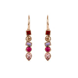 Mixed Crystal French Wire Earring - Pink Crystals/Rose Gold Plated