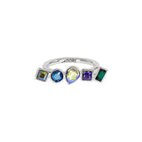 Mixed Crystal Ring - Blue Crystal/Rhodium Plated