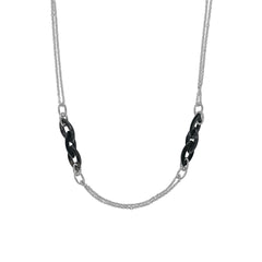 Resin Link Long Necklace - Silver Shade Crystal/Rhodium Plated