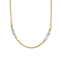 Resin Link Long Necklace - Silver Shade Crystal/Gold Plated