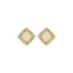 Resin & Pavé Post Earring - Crystal/Gold Plated