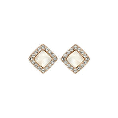 Resin & Pavé Post Earring - Crystal/Rose Gold Plated