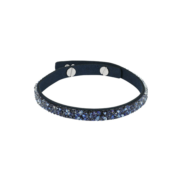 Skinny Fine Rock Bracelet - Blue Crystal/Rhodium Plated