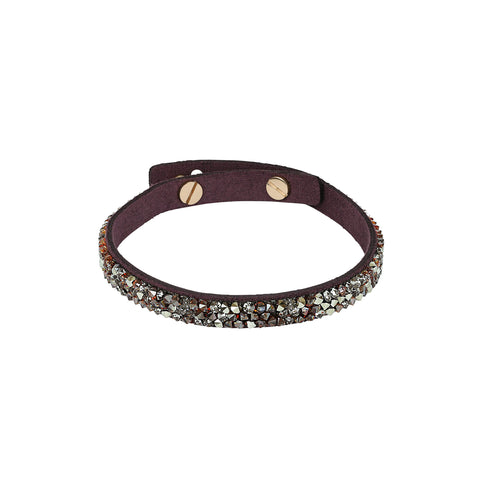 Skinny Fine Rock Bracelet - Burgundy Crystal/Rose Gold Plated