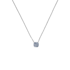 Pavé Cushion Necklace - Blue Crystal/Rhodium Plated