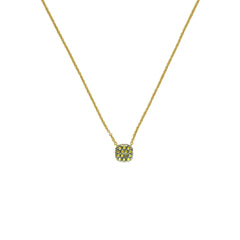 Pavé Cushion Necklace - Green Crystal/Gold Plated