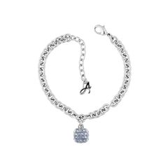 Pavé Cushion Bracelet - Blue Crystal/Rhodium Plated