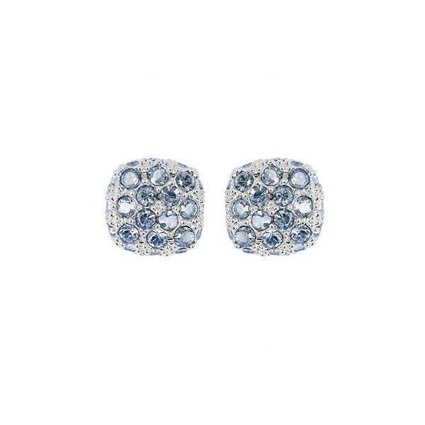 Pavé Cushion Earring - Blue Crystal/Rhodium Plated
