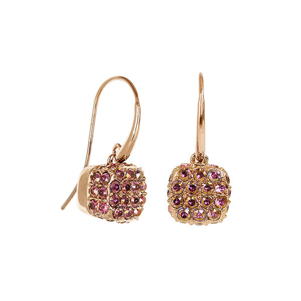 Pavé Cushion French Wire Earrings - Lilac Shadow Crystal/Rose Gold Plated